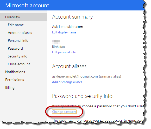 account password